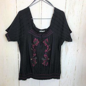 Maurices Black Pink Embroidered Off Shoulder Top